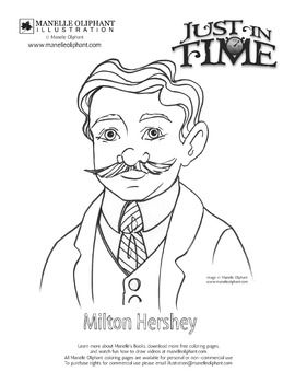 Coloring page of Milton Hershey. Great for Pennsylvania