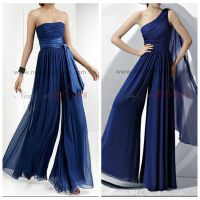 Royal Blue Chiffon Bridesmaid Dress Rompers Jumpsuit Maid ...