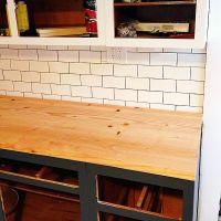 """DIY wood plank countertops"" The wood plank countertops ..."