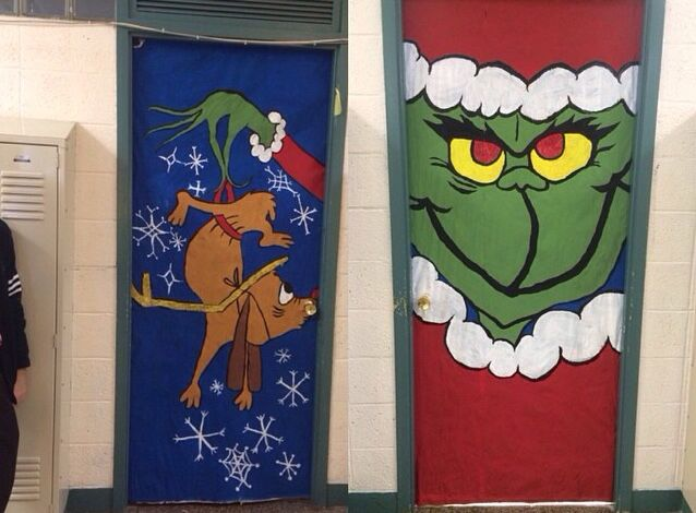 The Grinch & Max themed doors for Christmas