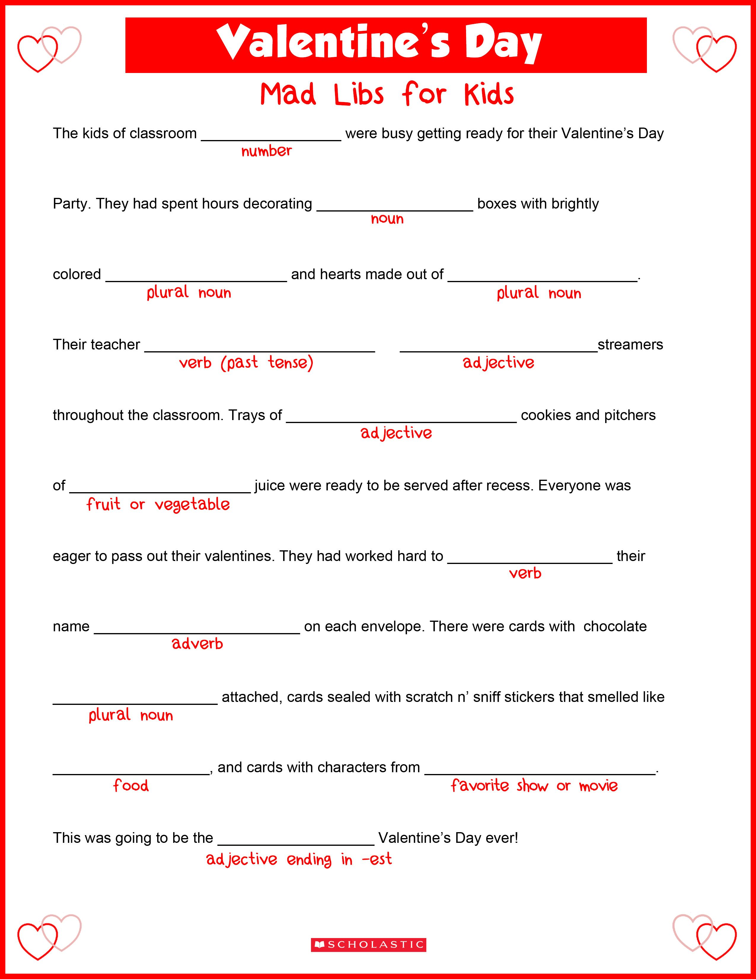 Valentine S Day Mad Libs Activity For Kids