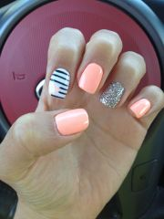coral nails with heart