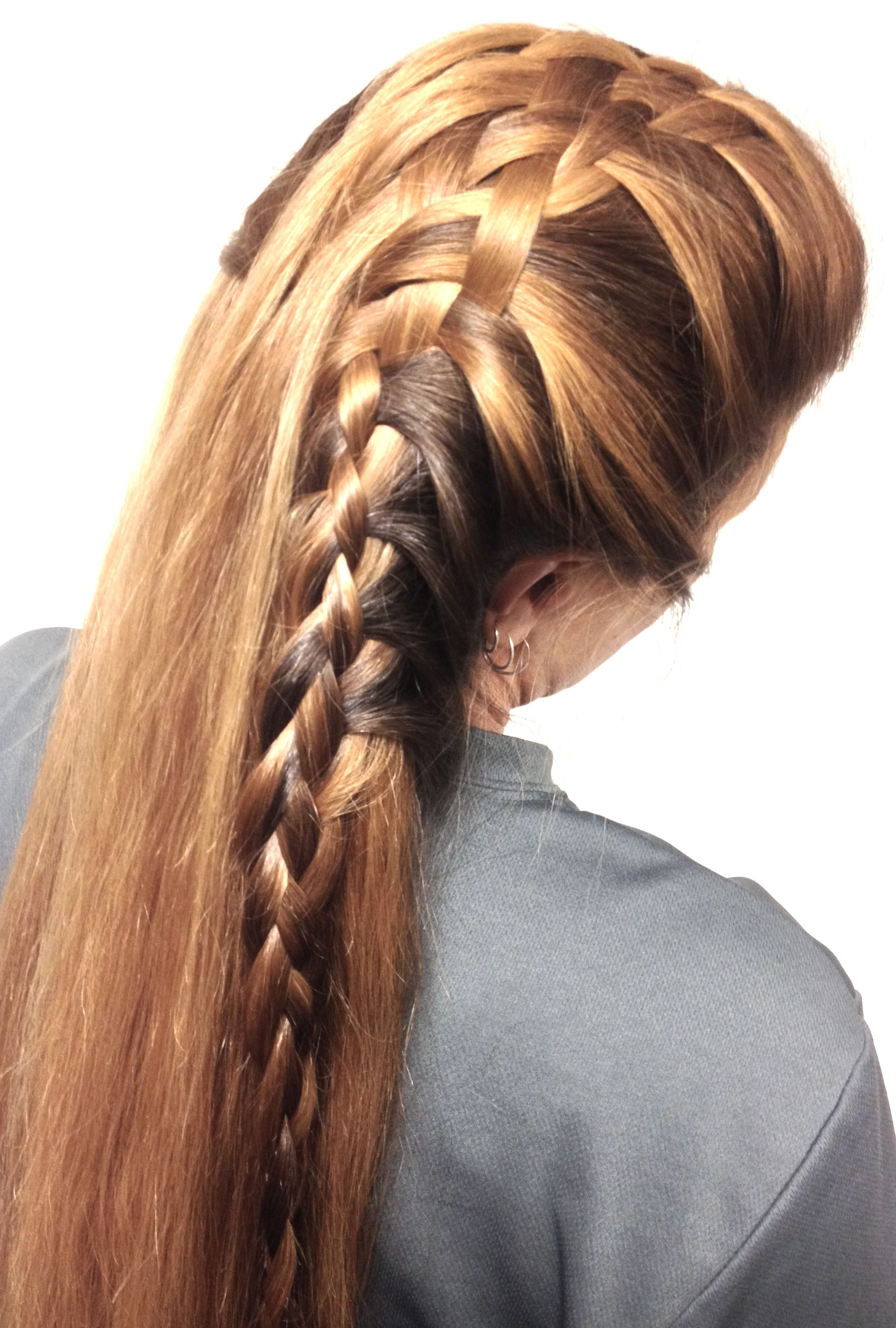 Braided Hairstyle Flow thru basket weave secured by a four strand