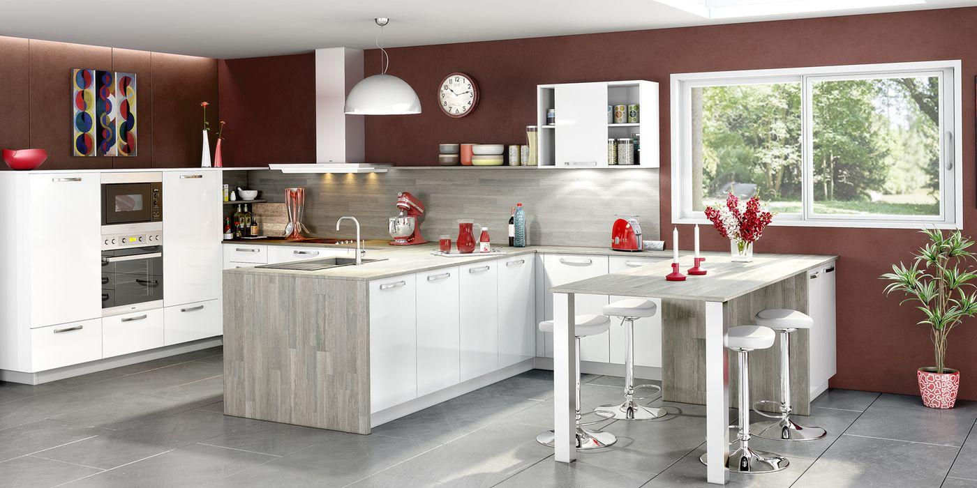 Cuisine ouverte et moderne coloris blanc et gris cendr Cuisines You  Modle Luna  Cuisines