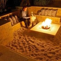beach fire pit at home! A mini bonfire area with sand ...