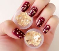Red & gold leaf nails | Nail Inspiration | Pinterest ...