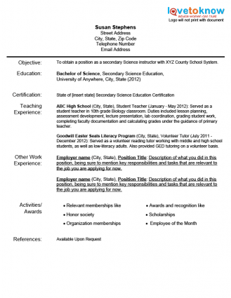 Resume Teacher Examples