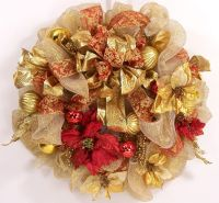 Mesh Christmas wreath ribbon holiday red gold wreath luxe ...