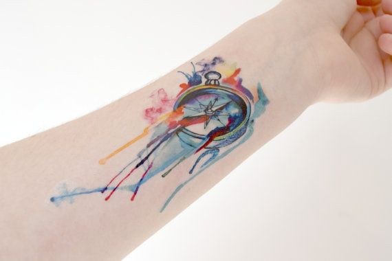 Watercolor Temporary Tattoo Compass Blue By
