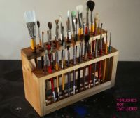 Wooden Paint Brush Holder Paintbrush Stand Wood Brush