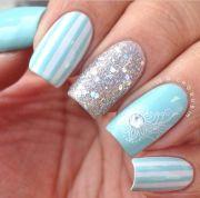 light blue nail art nails