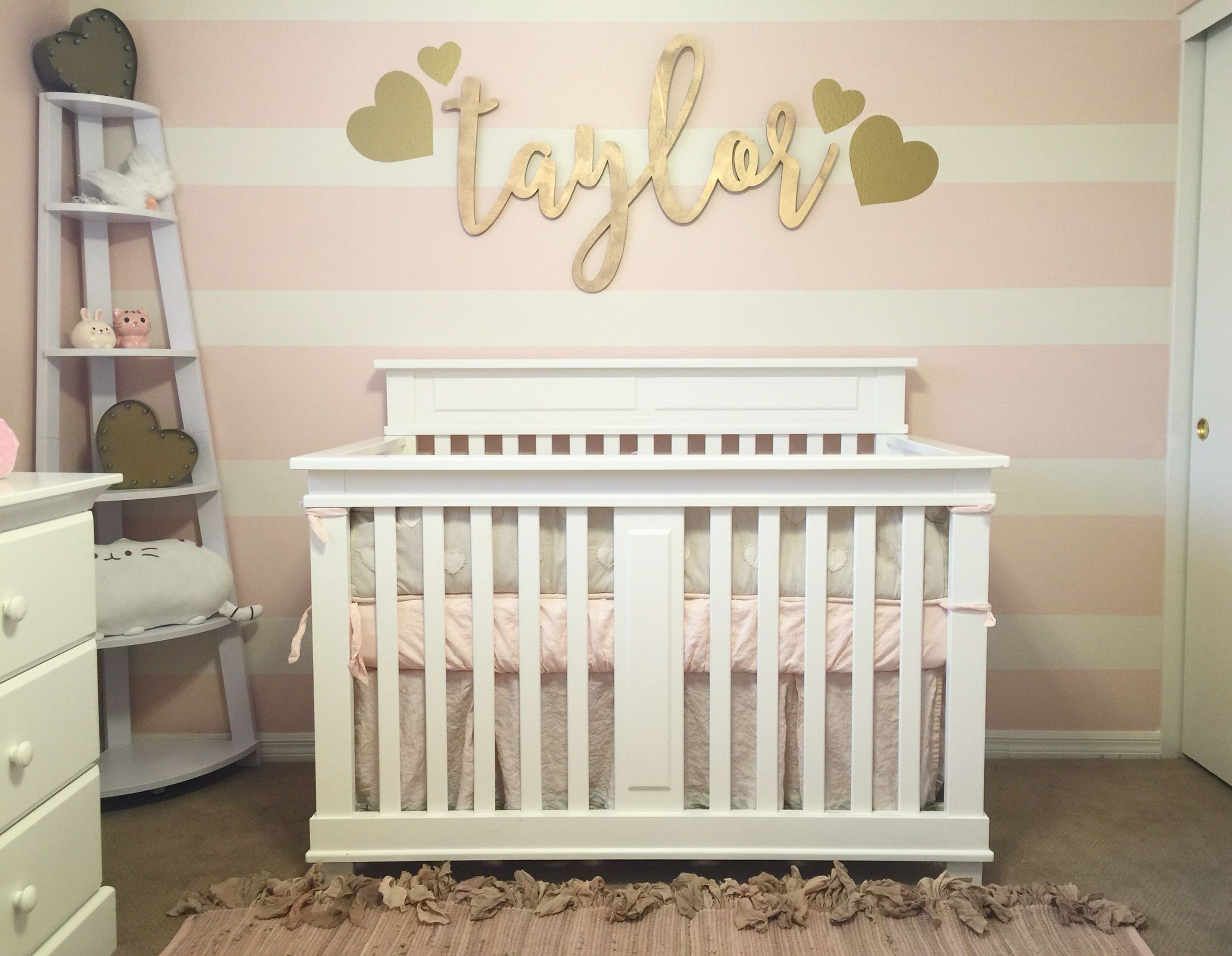 Pink and gold nursery for our baby girl. Pink and cream