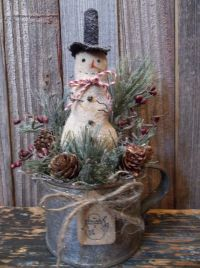 Primitive Winter/Holiday Decoration - Snowman in Old ...