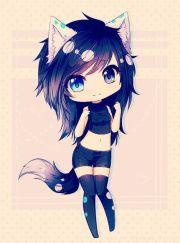 grafika black hair wolf and anime