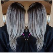 grey hair balayage