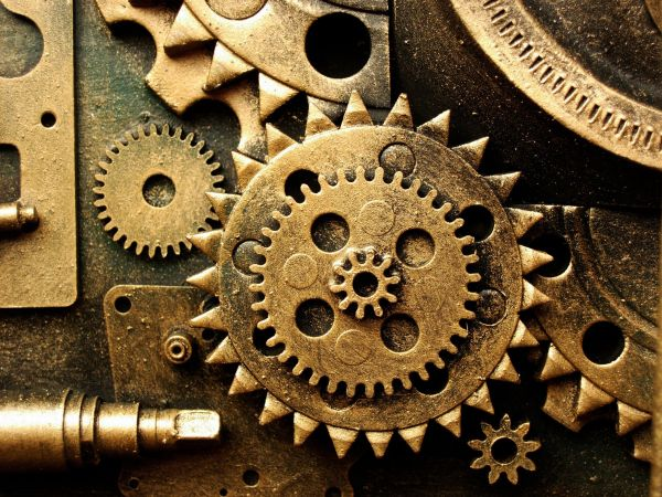 Gears Mechanical Technics Metal Steel Abstract Abstraction