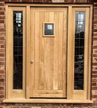 Oak front door, frame & side lights set - Made for a ...