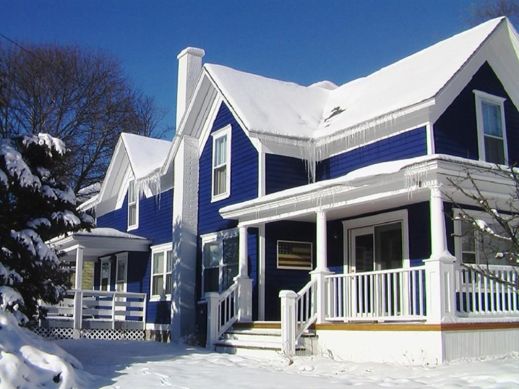 Magnificent Duplex House With Blue Exterior Paint Idea With Some
