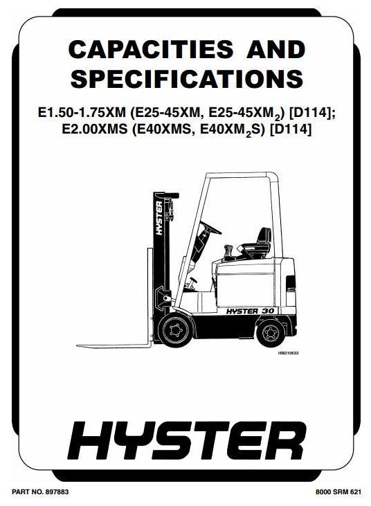 Hyster Truck Type D114: E25XM, E30XM, E35XM, E40XMS, E1