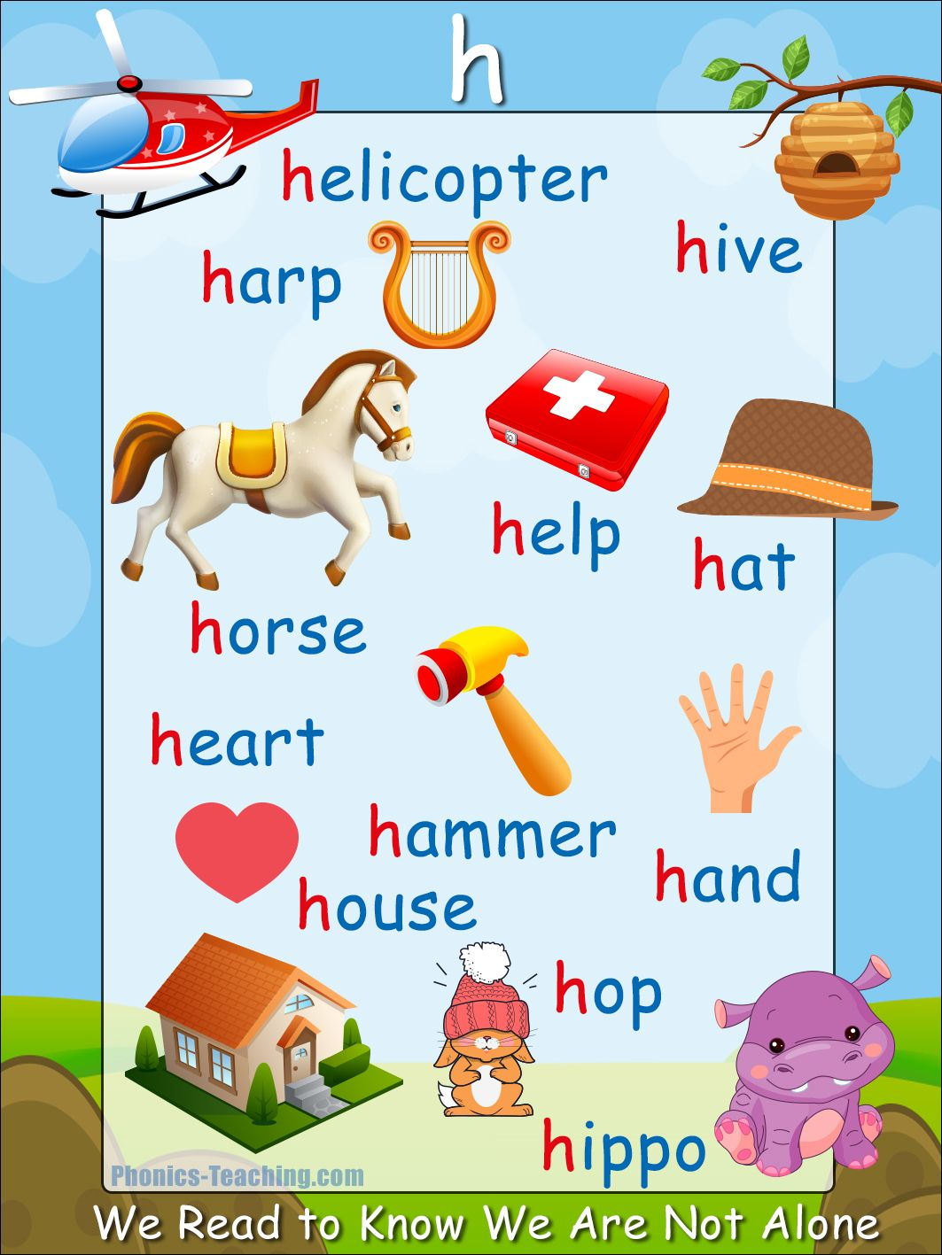 H Words Phonics Poster