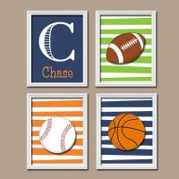 SPORTS Wall Art, CANVAS or Prints, Boy Nursery Artwork