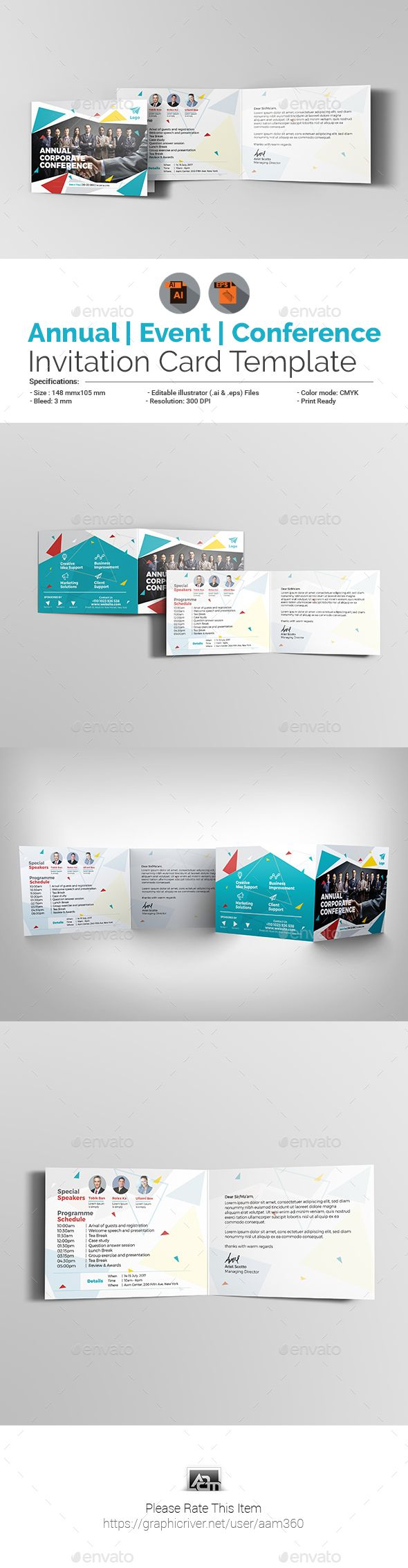 Conference invitation card vector inviview annual corporate event conference invitation card template print stopboris Images