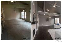Modern living room remodel. Open concept. Renovation. Gray ...
