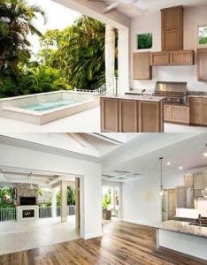 Indoor outdoor living room with kitchen and hot tub in or out back of architectural designs house plan bw built florida adhouseplans also rh za pinterest