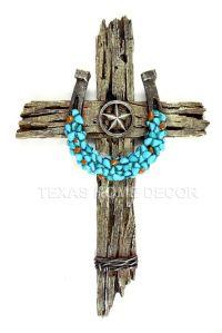 Turquoise Horseshoe Concho Decorative Wall Cross Faux Wood