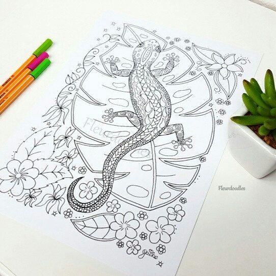 Eidechse - Malseite handgezeichnete Ausmalbilder Malbuch