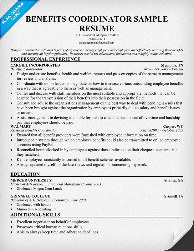 Benefits Coordinator Resume resumecompanioncom  Resumes  Cover Letters  Pinterest