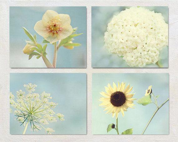 Flower photograph set yellow and blue wall art print also rh pinterest