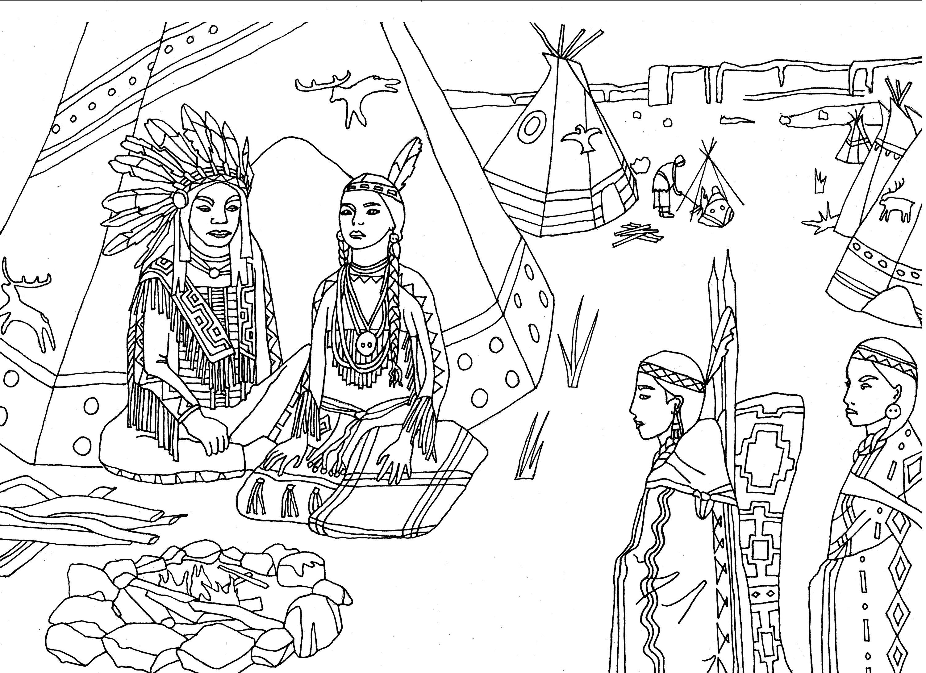 Free coloring page coloring-adult-native-americans-indians