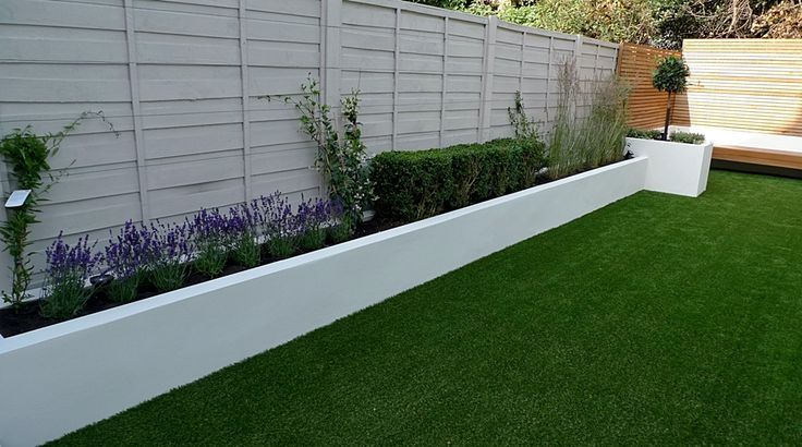 Easy Lawn Grass Raised Beds Modern Painted Fence Small Garden