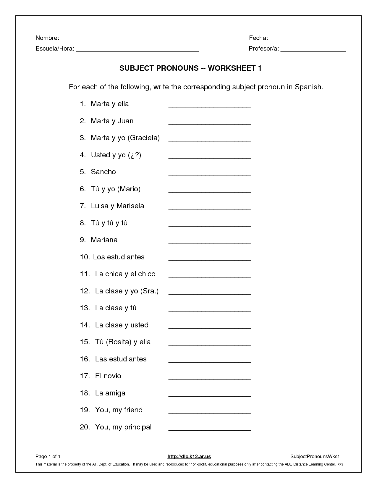 La Escuela De Ingles De Eva Subject Pronouns Worksheet