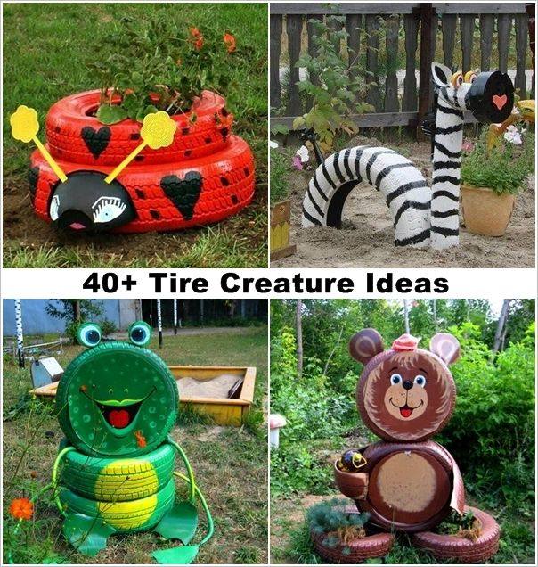 40 Ideas To Craft Recycled Tire Creatures For Your Garden DIY