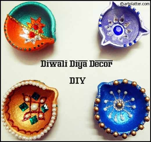 Decorative Diyas For Diwali – Metallic Shades Diwali Pinterest