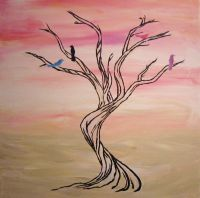 Easy Tree Paintings On Canvas | tree art, pink and white ...