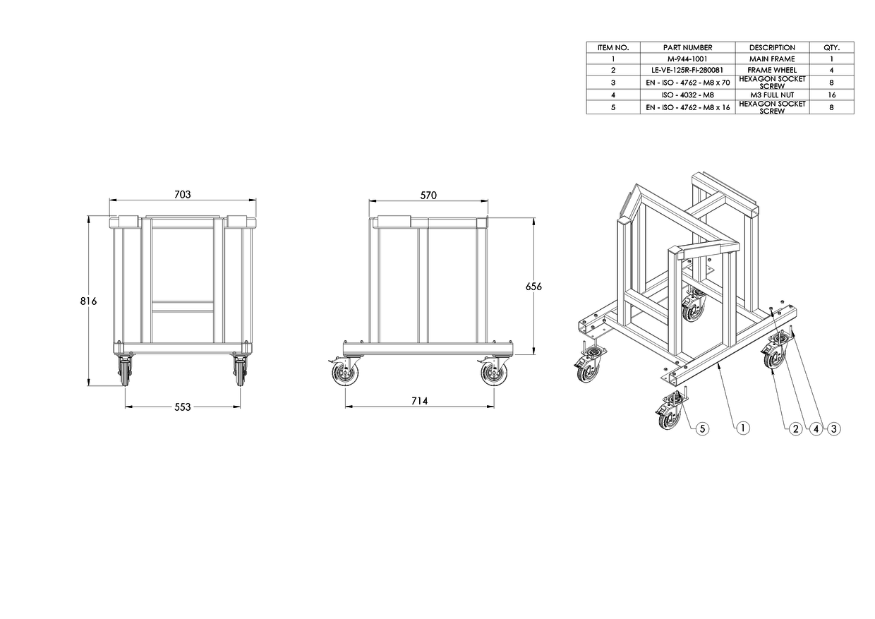 General Assembly Drawing of an Aluminium Trolley