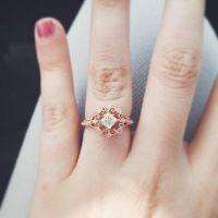 Vintage Round Diamond Engagement Ring in 14k Rose Gold ...