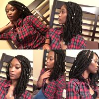 Shoulder length bob box braids protective style ...