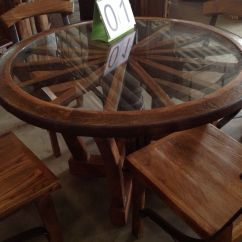 Wagon Wheel Chair High Deals Handcrafted Reclaimed Teak Wood Dining Table
