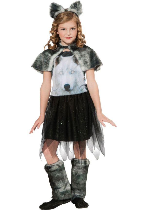 Kids Twilight Wolf Costume Girl Werewolf Fancy Dress