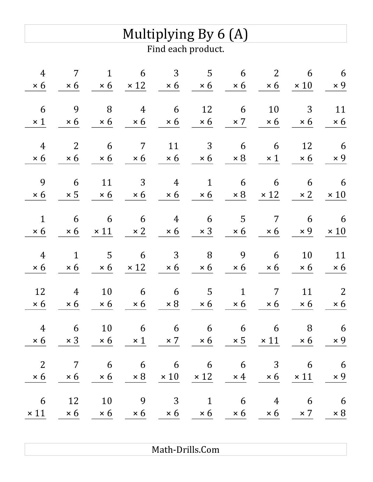 The Multiplying 1 To 12 By 6 A Math Worksheet From The