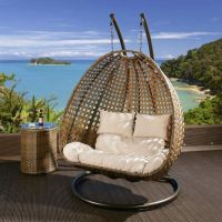 Outdoor 2 Person Garden Hanging Chair Brown Rattan Cream ...
