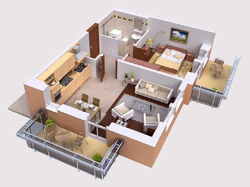 Home Design Excellent 3d Studio Apartment Floor Plans On