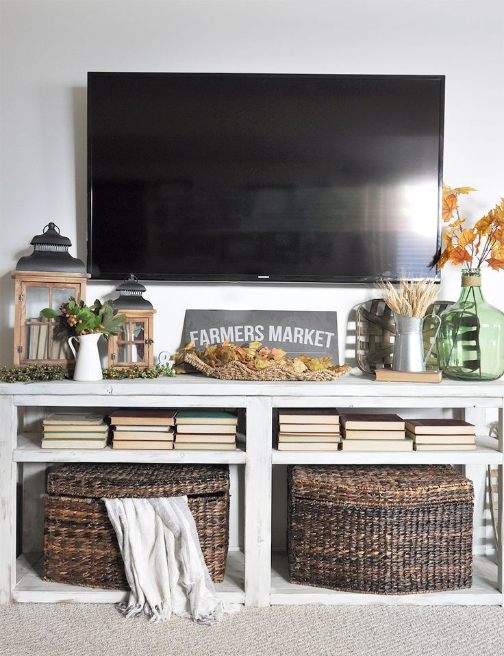 Image result for tv console fall decor