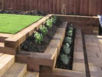 retaining wall wooden sleepers - Google Search   Gardening ...