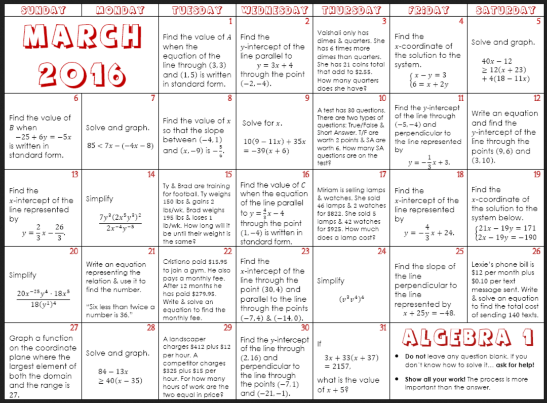 March Math Calendars For Elementary Through High