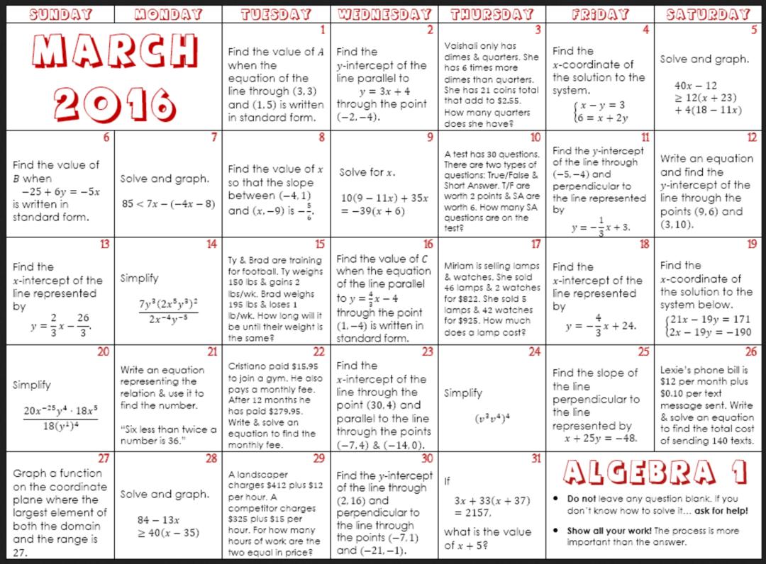 March Math Calendars For Elementary Through High School